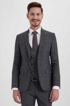 Yelekli Slim Fit Kahverengi Takım Elbise - Thumbnail