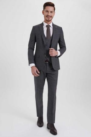 Hatem Saykı - Antrasit Kareli Slim Fit Yelekli Takım Elbise