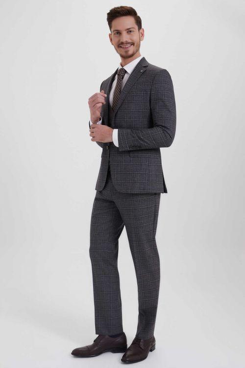 Hatem Saykı - Antrasit Kareli Slim Fit Yelekli Takım Elbise (1)