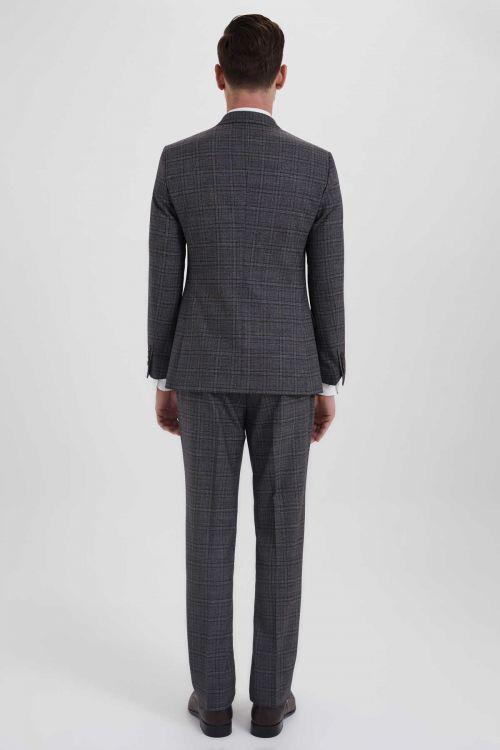 Yelekli Slim Fit Kahverengi Takım Elbise