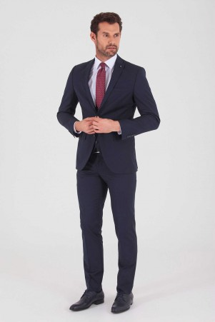 Lacivert Slim Fit Yelekli Takım Elbise - Thumbnail