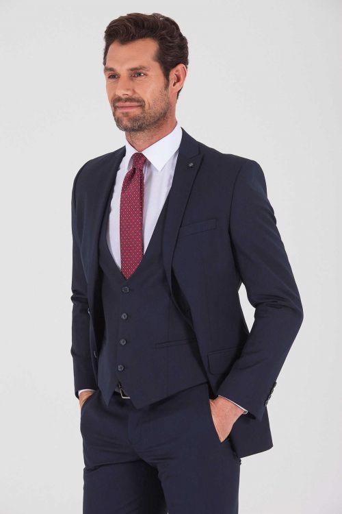 Lacivert Slim Fit Yelekli Takım Elbise