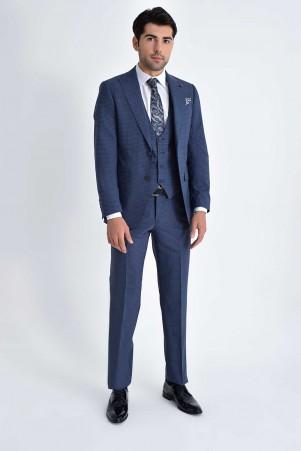 Hatem Saykı - Yelekli Slim Fit Lacivert Takım Elbise (1)