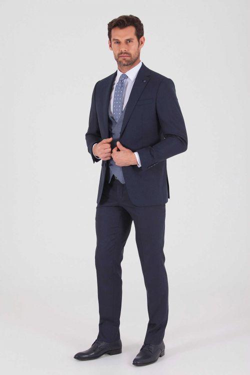 Hatem Saykı - Lacivert Desenli Slim Fit Yelekli Takım Elbise