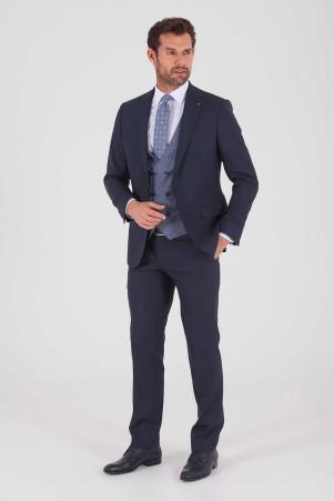 Hatem Saykı - Lacivert Desenli Slim Fit Yelekli Takım Elbise (1)