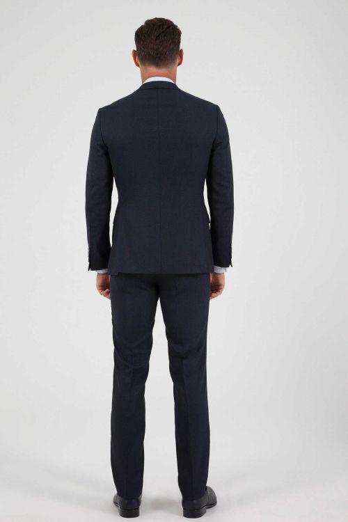 Yelekli Slim Fit Lacivert Takım Elbise