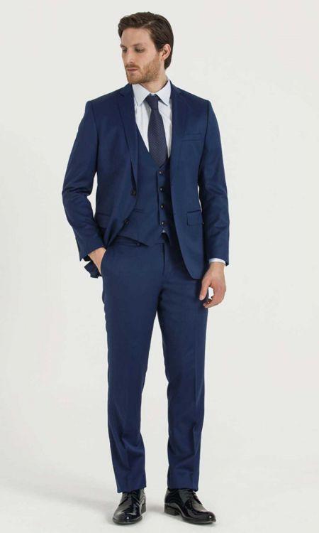 Hatem Saykı - Yelekli Slim Fit Lacivert Takım Elbise