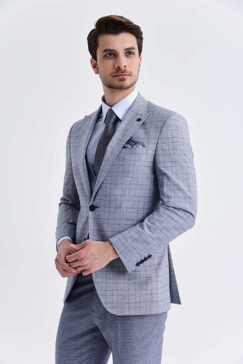 Mavi Kareli Slim Fit Yelekli Takım Elbise