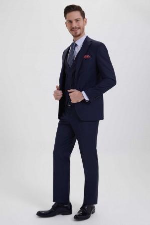 Hatem Saykı - Lacivert Slim Fit Yelekli Takım Elbise (1)