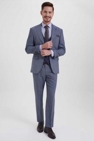 Yelekli Slim Fit Lacivert Takım Elbise - Thumbnail