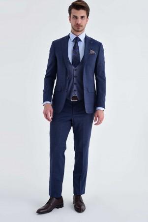 Hatem Saykı - Lacivert Yelekli Slim Fit Takım Elbise