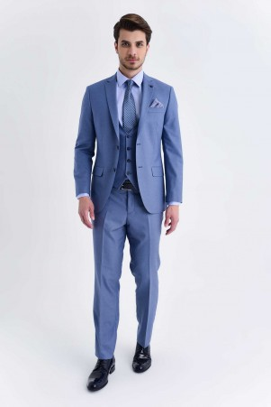Hatemoğlu - Yelekli Slim Fit Mavi Takım Elbise