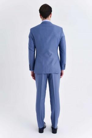 Yelekli Slim Fit Mavi Takım Elbise - Thumbnail
