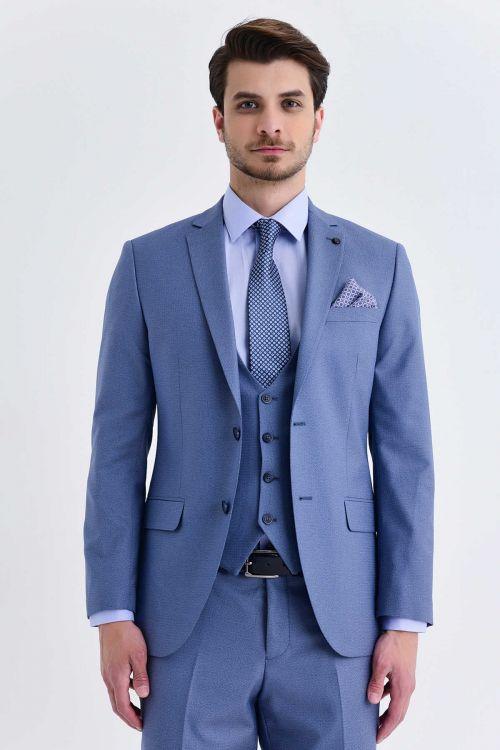 Yelekli Slim Fit Mavi Takım Elbise