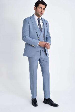 Hatem Saykı - Mavi Desenli Slim Fit Yelekli Takım Elbise