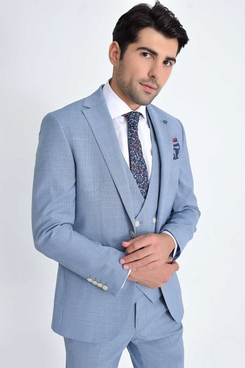 Mavi Desenli Slim Fit Yelekli Takım Elbise