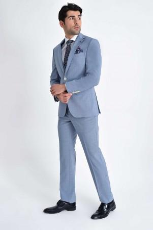 Hatem Saykı - Mavi Desenli Slim Fit Yelekli Takım Elbise (1)