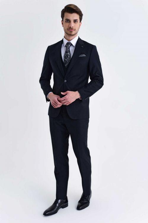 Hatem Saykı - Yelekli Slim Fit Siyah Takım Elbise