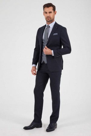Hatem Saykı - Siyah Slim Fit Yelekli Takım Elbise