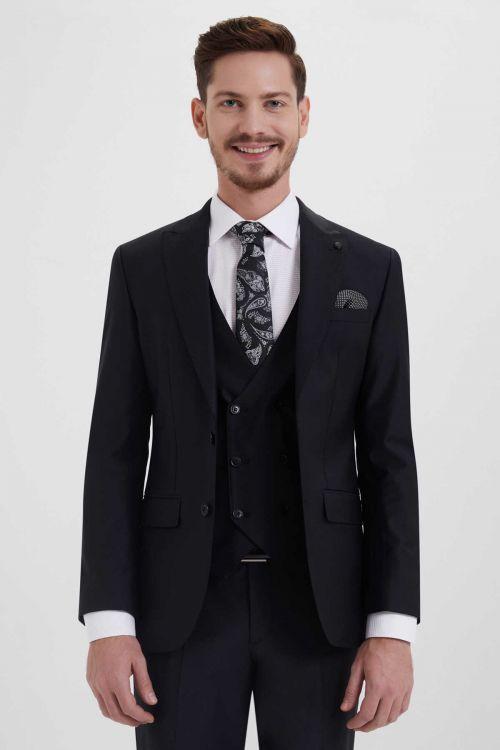Yelekli Slim Fit Siyah Takım Elbise