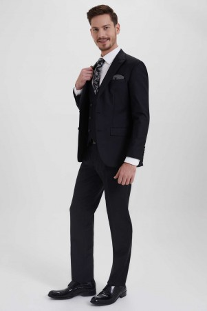 Yelekli Slim Fit Siyah Takım Elbise - Thumbnail