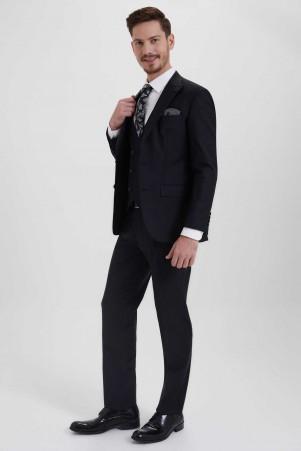 Hatem Saykı - Siyah Slim Fit Yelekli Takım Elbise (1)