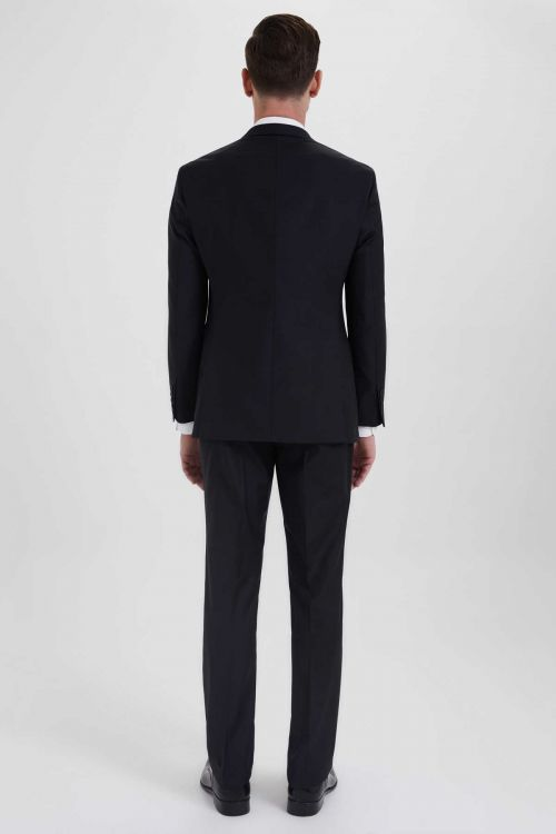 Siyah Slim Fit Yelekli Takım Elbise