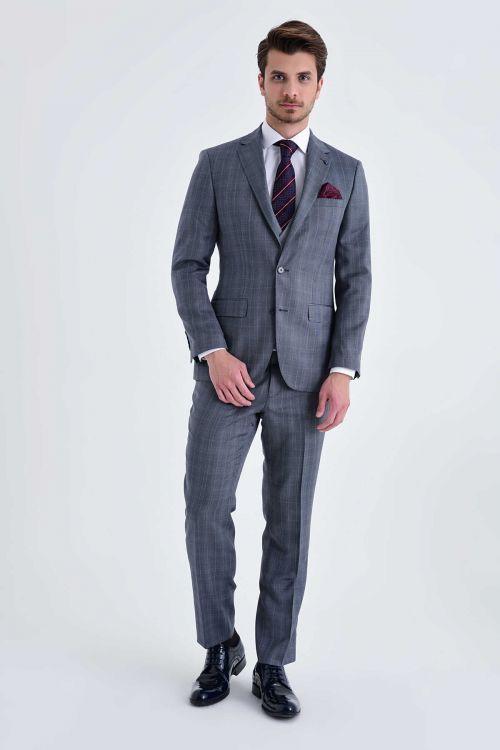 Hatem Saykı - Yelekli Slim Fit Yün Gri Takım Elbise (1)