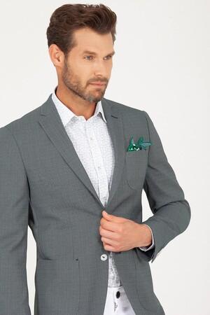 Yeşil Slim Fit Desenli Ceket - Thumbnail