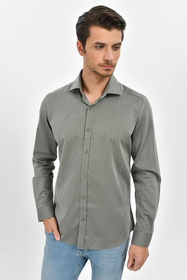 HATEMOĞLU - Yeşil Desenli Slim Fit Gömlek