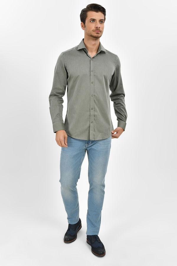 HATEMOĞLU - Yeşil Desenli Slim Fit Gömlek (1)