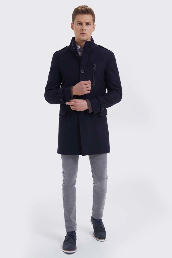 Hatem Saykı - Yünlü Lacivert Palto (1)