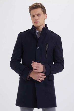 Hatem Saykı - Yünlü Lacivert Palto