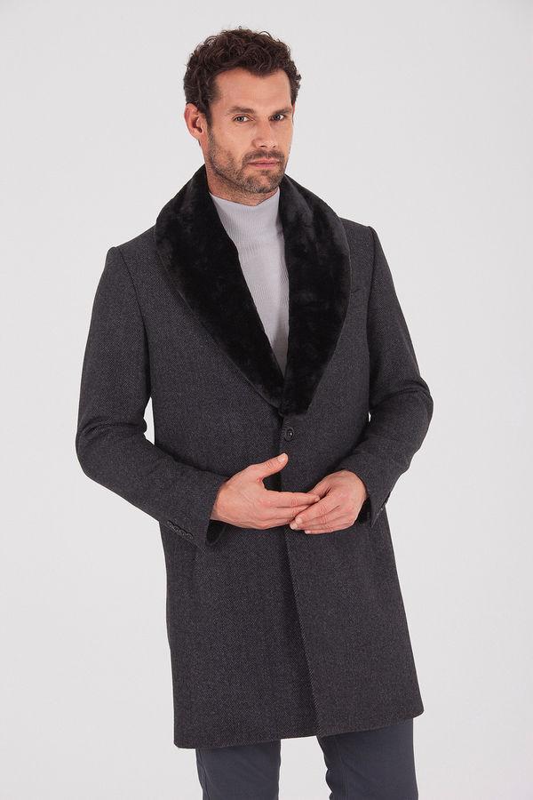 Hatem Saykı - Yünlü Yakası Kürklü Antrasit Palto